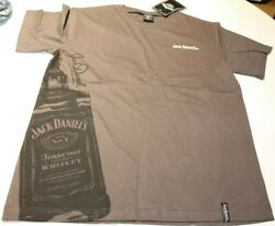 New Jack Daniels Mens Charcoal Grey Bottle Cotton Top Tee T-shirt Size Small