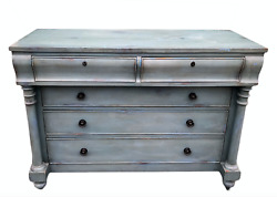 Rare 5 Drawer Dresser Distressed Blue Painted Finish With Key