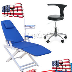 Us Portable Dental Folding Chair/mobile Adjustable Stool Chair Doctor Pu Leather