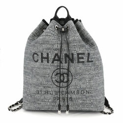 Deauville Back Pack Raffia Leather Gray Black A93787 90115480