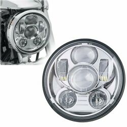 Chrome 5-3/4 5.75inch Led Projector Headlight Hi/lo For Dyna Motorcycles Round
