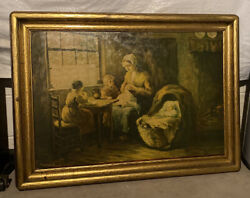 """Antique Vintage Signed F.g. Grust Oil Painting. """"contentment"""" 27x37"""