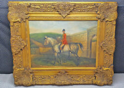 Antique Magnificent Painting To Oil Fabric Framework Resin Signed G Roy Horse