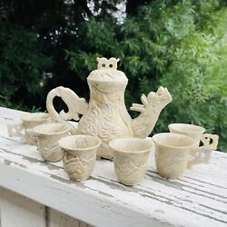 Antique Signed Asian Stone Carved Dragon Mythical Creature Teapot And Teacup Set