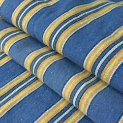 Antique Vtg French Ticking Curtain Fabric Panel W Rings Blue/yellow Stripes 1890