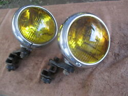 1940and039s-1950and039s Sealed Beam Approximately 6 Inch Fog Lights With Mounting Brackets
