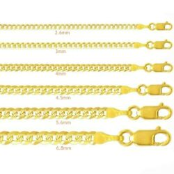 Cuban Curb Link Textured Chain Necklace Men Women 14k Solid Gold 2.6-6.8mm