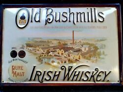Old Bushmill's Whiskey/brewery Embossed 3d Metal Advertising Sign 30x20cm