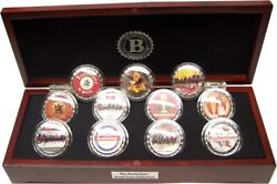 11 Bradford Exchange Budweiser Bottle Cap 99.9 Silver Plated Proof Coins W/case