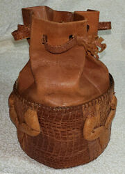 Vintage Colombian Handmade Lizard and Leather Small Bucket Purse Lot CF22 $21.99