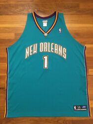 Authentic 2003 Reebok New Orleans Hornets Baron Davis Road Teal Jersey 56