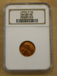 Ngc 1953-s 1c Ms 67 Rd Graded Coin Look Free Shipping