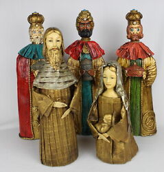 Vtg. 6 Pc. S B Schmid Bros Christmas Nativity Paper Mache Holy Family And 3 Kings