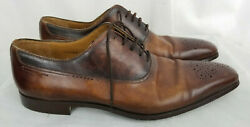 Magnanni Mens 8 Dress Shoes Brown Leather Dolan Tabaco Brogue Toe Oxford Lace Up