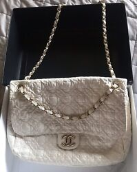 Vintage Authentic Bag Rare Clover Design Quilt On Patent Ivory Leather