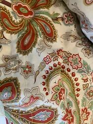 Pottery Barn Charlie Paisley Organic Percale F/q Duvet Cover Red