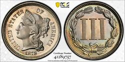 1878 3cn Pcgs Pr 67 Cam Cac Gem Cameo Proof Only Date Three Cent Nickel Coin