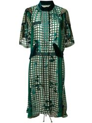 Sacai - Green Grid Silk Velvet Dress - New - Sold Out Size 2 Rrp Andpound1505