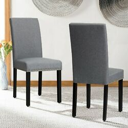 Set Of 2 Dining Chairs Fabric Upholstered Armless Accent Home Furniture Home