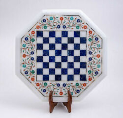 24and039and039 White Marble Chess Table Top Pietra Dura Inlay Children Game Kids C59