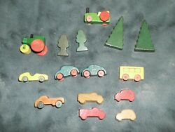 Vintage Miniature Wooden Vehicles Cars Tractor Well Made German Putz