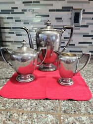 Reed And Barton Sterling Silver Town And Country 3 Piece Tea Set== Other Pieces