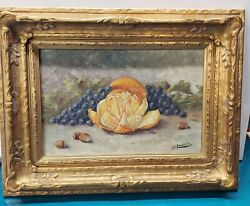 Emil W. Lenders German 1865-1934 Early Still Life Fruit Oil Painting Antique