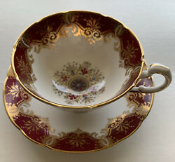 Paragon China Cup And Saucer By Appointment To Her Majesty Red And Gold