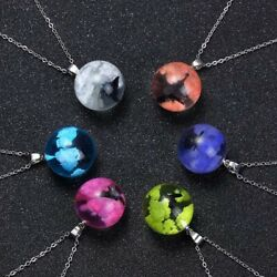 Clear Sphere Sky Colored Clouds With Bird Pendant Necklace Handmade Unique Best