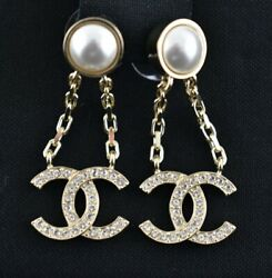 21p Pearl Crystal Curb Link Chain Gold Cc Logo Large Dangle Drop Earrings