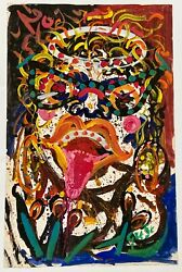 Hendrik Grise Vintage 1960s Funky Abstract Expressionist Face Rock Star Painting