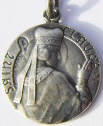 St. Claude Rare Art Nouveau Signed Sterling Silver Holy Medal Patron Childs Toys