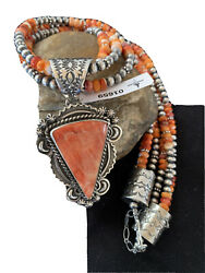 Native American Sterling Silver Navajo Pearl Red Spiny Oyster Pendant 01659
