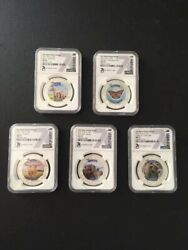 Set Of 5 - Silver 1oz Animal State Series Ngc Ms70 Coins
