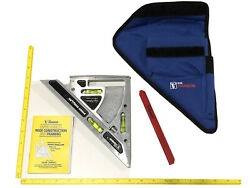 New C.h. Hanson Pivot Square And Layout Tool Carpenter Framing Aid Usa With Case