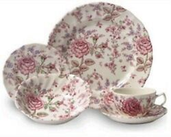 Johnson Brothers China Rose Chintz Pink Five Piece Place Setting - Discontinued