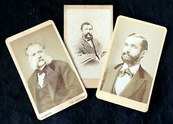 3 Vintage CDV Carte deVisites of THREE Men with BEARD and MUSTACHES. c.1860#x27;s