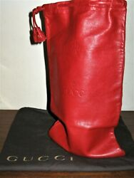 Vintage 80's Red Leather Drawstring Wine/bottle Carrier And Dustbag
