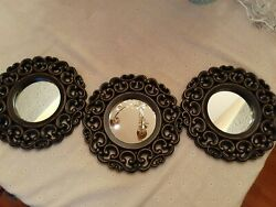 SMALL ROUND MIRRORS FOR WALL DECOR SET OF 3 BLACK PERFECT FOR ANY ROOM
