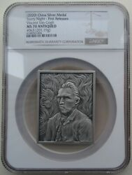Ngc Ms70 China 2020 Vincent Van Gogh Starry Night Silver Medal Around 201g
