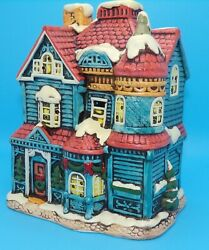 House Of Blue Gables Lefton Colonial Village 1987 06337 Lighted House Red Roof
