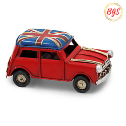 Small Vintage Rustic Metal Tin Ornament Union Jack Roof Red Mini Cooper Car