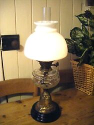 Large Vintage Brass Twin Burner Oil Lamp With Glass Chimney Shade And Glass Font