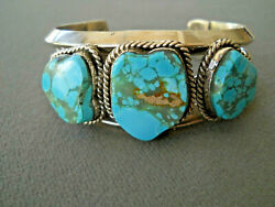 Native American High-grade 3-stone Turquoise Sterling Silver Cuff Bracelet Cb