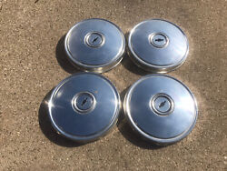 Set Chevrolet Chevette 9 1/2andrdquo Dog Dish Poverty Wheel Hubcaps. Black Bow Tie1976