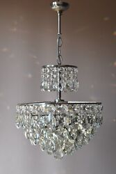 Antique French Vintage Crystal Chandelier Home Decor Empire Silver Ceiling Light