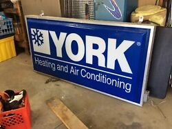 Vintage York Heating And Air Conditioning Lighted Sign Wks Great Business Or Displ