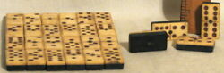 28 Antique Ebony Double Six Dominoes With Brass Spinner Studs