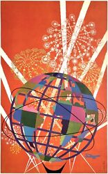 Original Vintage Poster New York World's Fair Fly Twa Airline Travel W/o Text Ol