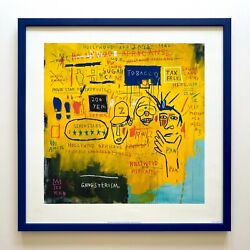 Jean Michel Basquiat Estate Framed Lithograph Print Hollywood Africans 1983